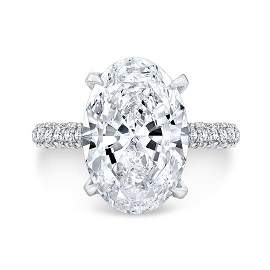 Natural 5.22 CTW Halo Oval Cut Diamond Engagement Ring