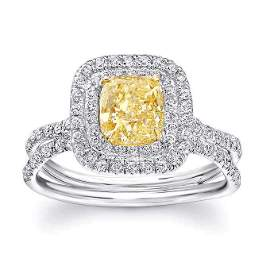 Natural 2.37 CTW Double Halo Canary Yellow Cushion Cut
