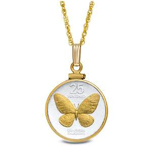 Philippines 25 Centimos Butterfly Necklace w/14k Gold