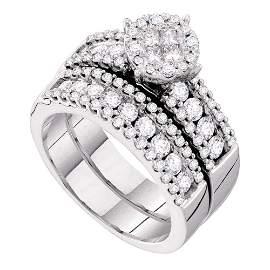 14kt White Gold Princess Diamond Bridal Wedding Ring