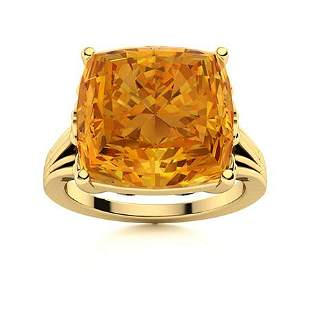 Natural 4.95 CTW Citrine Solitaire Ring 18K Yellow Gold