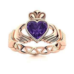 Natural 1.55 CTW Amethyst Solitaire Ring 14K Rose Gold
