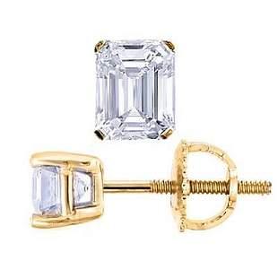 Natural 2.02 CTW Emerald Cut Diamond Stud Earrings