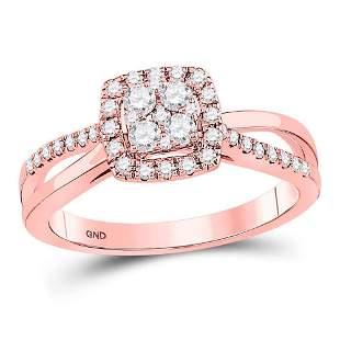 14kt Rose Gold Round Diamond Square Bridal Wedding