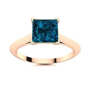 Natural 0.80 CTW Topaz Solitaire Ring 14K Rose Gold