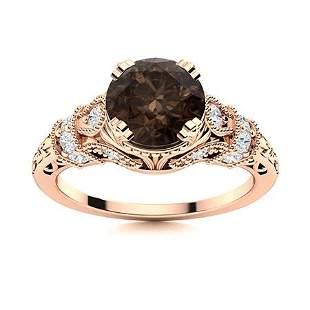 Natural 0.96 CTW Smoky Quartz & Diamond Engagement Ring