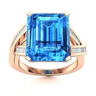 Natural 5.53 CTW Topaz & Diamond Engagement Ring 18K