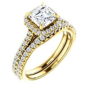 Natural 2.02 CTW Halo Asscher Cut Diamond Engagement