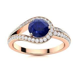 Natural 1.31 CTW Sapphire & Diamond Engagement Ring 14K
