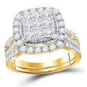 14kt Yellow Gold Princess Diamond Halo Bridal Wedding