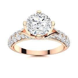 Natural 1.63 CTW Diamond Solitaire Ring 14K Rose Gold