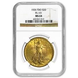 1926 $20 Saint-Gaudens Gold Double Eagle MS-64 NGC (TDO