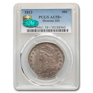 1813 Capped Bust Half Dollar AU-58+ PCGS CAC (Overton