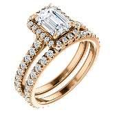 Natural 2.02 CTW Halo Emerald Cut Diamond Engagement