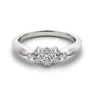 Natural 1.1 ctw Diamond 2 Stone 2 Stone Ring 14k White