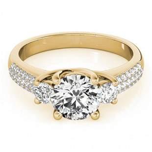 Natural 1.25 ctw Diamond 3 Stone Micro Pave Ring 14k