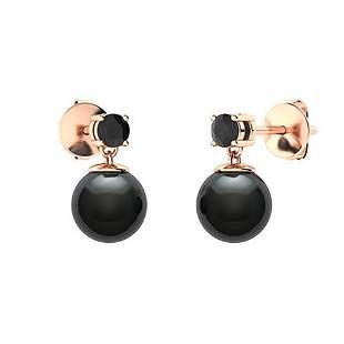 3.83 CTW Black Diamond & Black Pearl Drops Earrings 18K