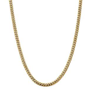 14k 5 mm Solid Miami Cuban Chain Necklace - 24 in.