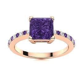 Natural 0.69 CTW Amethyst & Diamond  Engagement Ring