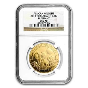 2014 Somalia 1 oz Gold African Elephant MS-70 NGC