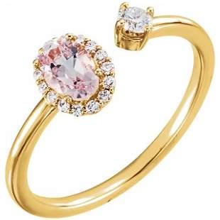 Natural 0.69 CTW Pink Morganite & Diamond Cuff Ring