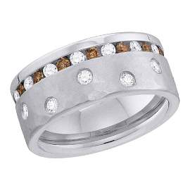 Brown Diamond Band Ring 1-1/8 Cttw 14kt White Gold