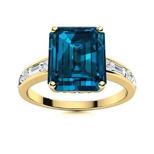 Natural 7.47 CTW Topaz & Diamond Engagement Ring 14K