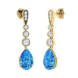 4.49 CTW Blue Topaz & Diamond Drops Earrings 18K Yellow