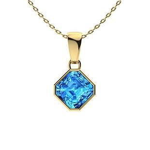 0.9 ctw Sky blue Topaz Necklace 18K Yellow Gold