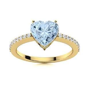 Natural 1.80 CTW Aquamarine & Diamond Engagement Ring