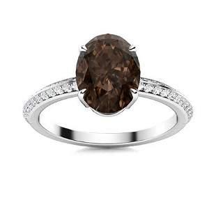 Natural 5.54 CTW Smoky Quartz & Diamond Engagement Ring