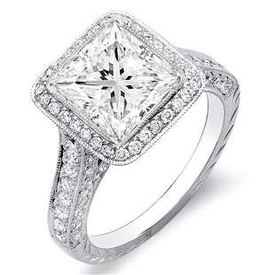 Natural 2.32 CTW Princess Cut Halo Diamond Engagement