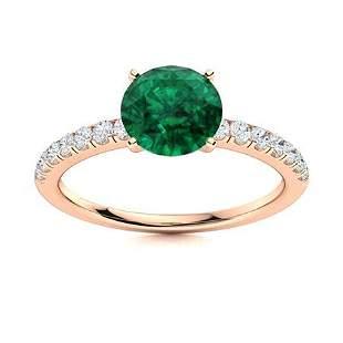 Natural 2.77 CTW Emerald & Diamond Engagement Ring 18K