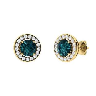 1.23 CTW Blue Diamond Halo Earrings 18K Yellow Gold