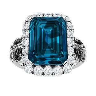 Natural 5.68 CTW Topaz & Diamond Engagement Ring 18K