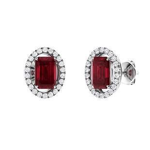 2.57 CTW Ruby & Diamond Halo Earrings 18K White Gold
