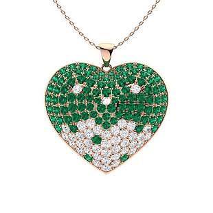2.3 ctw Emerald & Diamond Necklace 14K Rose Gold