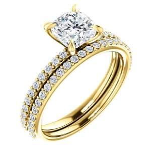 Natural 1.72 CTW Cushion Cut Diamond Ring 14KT Yellow