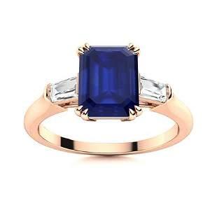 Natural 5.74 CTW Sapphire & Diamond Engagement Ring 18K