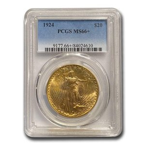1924 $20 Saint-Gaudens Gold Double Eagle MS-66+ PCGS