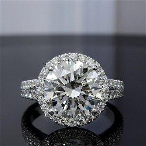 Natural 3.92 CTW Halo Split Shank Round Cut Diamond