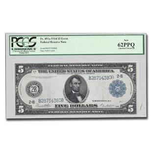 1914 (B-New York) $5.00 FRN CU-62 PPQ PCGS (Fr#851A)