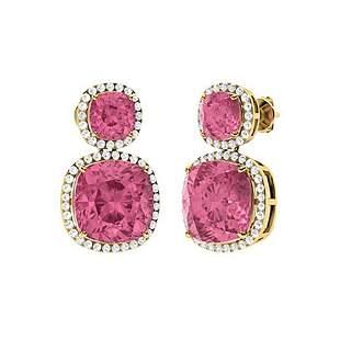 13.22 CTW Pink Tourmaline & Diamond Drops Earrings 18K
