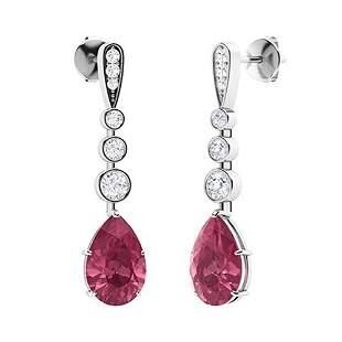 1.67 CTW Pink Tourmaline & Diamond Drops Earrings 18K
