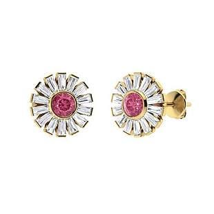 3.56 CTW Pink Tourmaline & Diamond Halo Earrings 14K