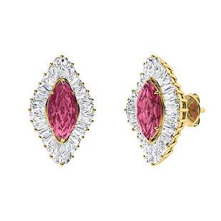 2.68 CTW Pink Tourmaline & Diamond Halo Earrings 14K