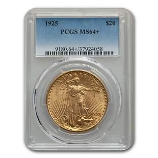 1925 $20 Saint-Gaudens Gold Double Eagle MS-64+ PCGS