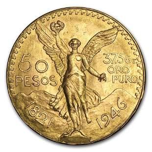 1946 Mexico Gold 50 Pesos BU