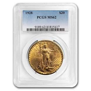 1928 $20 Saint-Gaudens Gold Double Eagle MS-62 PCGS