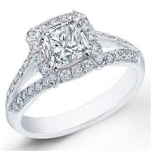 Natural 1.52 CTW Halo Princess Cut Split Shank Diamond